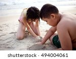children on the beach | Shutterstock . vector #494004061
