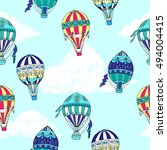 seamless pattern with clouds... | Shutterstock . vector #494004415