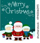 santa and friends two elf gift... | Shutterstock .eps vector #494006095