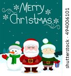 santa and friends snowman elf... | Shutterstock .eps vector #494006101