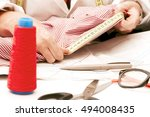 woman working in the sewing... | Shutterstock . vector #494008435