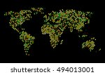 colorful vector pixel world map | Shutterstock .eps vector #494013001