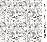 seamless pattern of hand drawn... | Shutterstock .eps vector #494023879