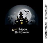 halloween greeting card | Shutterstock .eps vector #494026039