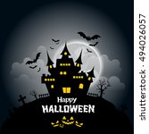 halloween background with... | Shutterstock .eps vector #494026057