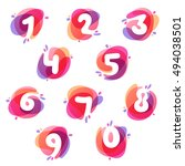 numbers set logos at colorful... | Shutterstock .eps vector #494038501