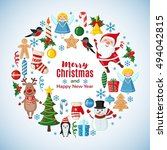 christmas card with santa claus ... | Shutterstock .eps vector #494042815