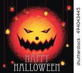 happy halloween polygon... | Shutterstock .eps vector #494043445