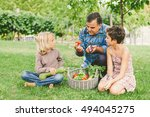 grandfather teaching healthy... | Shutterstock . vector #494045275