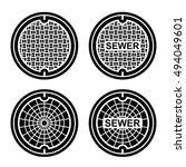 Manhole Sewer Cover Black...