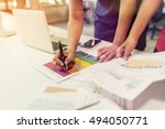 business team managers working... | Shutterstock . vector #494050771