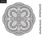 flower mandala. vintage... | Shutterstock .eps vector #494056435