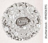 cartoon cute doodles hand drawn ... | Shutterstock .eps vector #494056591
