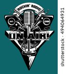 radio on air emblem  | Shutterstock .eps vector #494064931