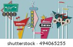 classic american signboards set ... | Shutterstock .eps vector #494065255