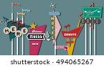 classic american signboards set ... | Shutterstock .eps vector #494065267