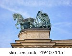 Statue on the Hero`s Square in Budapest, Hungary - stock photo