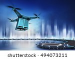 Drone With Metal Container At...