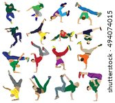 set of characters. man dancing...   Shutterstock .eps vector #494074015