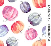 pumpkins watercolor pattern | Shutterstock . vector #494075905
