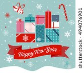 happy new year text over ribbon ... | Shutterstock .eps vector #494076901