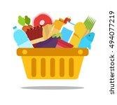 shopping basket with food and... | Shutterstock .eps vector #494077219