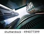 cityscape financial district... | Shutterstock . vector #494077399