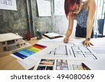 design studio architect... | Shutterstock . vector #494080069