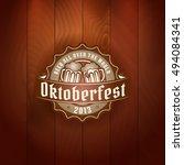 retro styled gold logo of pub... | Shutterstock .eps vector #494084341