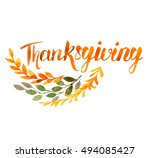 thanksgiving watercolor... | Shutterstock . vector #494085427