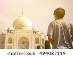 young traveler looking and... | Shutterstock . vector #494087119