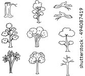doodle of tree set hand draw
