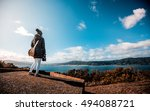 girl traveling on matiu somes... | Shutterstock . vector #494088721