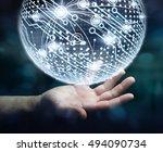 businessman in office touching... | Shutterstock . vector #494090734