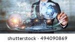 businessman moving digital... | Shutterstock . vector #494090869