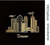 denver city golden architecture ... | Shutterstock .eps vector #494092261