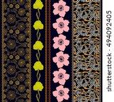 art deco silk wallpaper with... | Shutterstock .eps vector #494092405