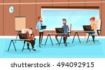 office interior  businesspeople ... | Shutterstock .eps vector #494092915