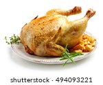 whole roasted chicken isolated... | Shutterstock . vector #494093221