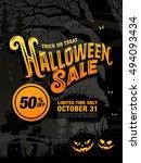 halloween sale. vector... | Shutterstock .eps vector #494093434