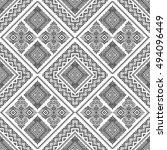 ethnic seamless monochrome...   Shutterstock .eps vector #494096449