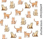 Seamless Pattern Colorful Cats...
