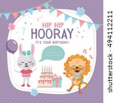 greeting card design with cute... | Shutterstock .eps vector #494112211