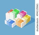 euro banknotes. big stack of...