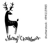 reindeer. christmas card. merry ... | Shutterstock .eps vector #494115985