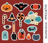 set cute  halloween elements in ... | Shutterstock .eps vector #494118745