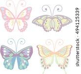 lovely butterfly set in pastel... | Shutterstock .eps vector #494125339