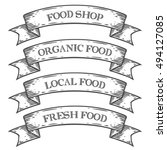 food shop market emblem ribbon. ... | Shutterstock .eps vector #494127085