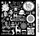 christmas holiday icons. merry... | Shutterstock .eps vector #494127877