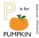 p is for pumpkin | Shutterstock .eps vector #494128954